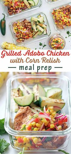 Grilled Adobo Chicken with Corn Relish Meal Prep - delicious summer lunch!