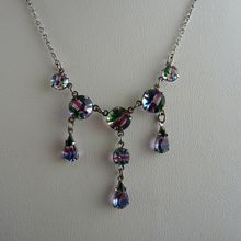 Vintage Rainbow Glass Necklace in 835 Silver
