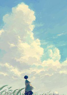 """hosiiro: """"夏雲を見上げる """""""