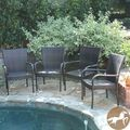 Christopher Knight Home Outdoor PE Wicker Stackable Arm Club Chairs (Set of 4) | Overstock.com
