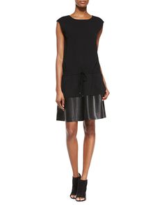Waist-Tie Leather/Knit Combo Dress, Black, Women's, Size: X-SMALL - Vince