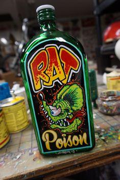 "Hand painted Garage Art ""Rat Posion"" bottle"