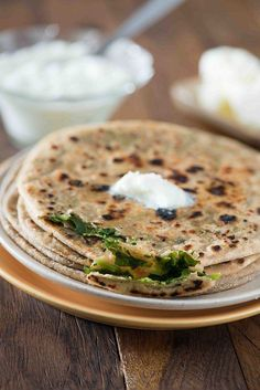 Stuffed methi paratha a crispy paratha stuffed with flavourful fresh leaves of methi. Methi paratha can be served as breakfast with curd or dal / sabzi Vegan Indian Recipes, Vegan Recipes, Ethnic Recipes, Bread Recipes, Good Food, Yummy Food, Yummy Snacks, Paratha Recipes, Indian Breakfast