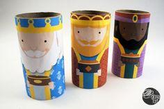 05_ Reis d'Orient _ Gloria Fort Free three wise men printable, using empty toilet paper roll tubes