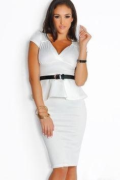 Belted Metallic White Peplum Dress US$22.21 Peplum Midi Dress, Belted Dress, Bodycon Dress, Sexy Formal Dresses, Elegant Dresses, Work Dresses, Casual Dresses, Vestidos Sexy, White Peplum