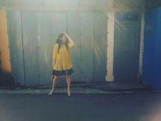 Hellow sunshine. Yellow sunday shine. Street fashion style