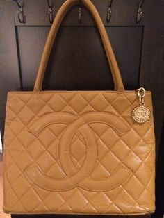 Chanel Classic Quilted Caviar Leather Gold Medallion Tan Tote Bag $1,124