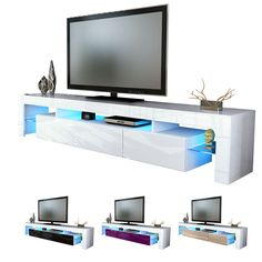 Helios 200 Modern TV Stand for living room TV Entertainment Center with LED Mesa de TV/Color white and white Tv Moderna, Ikea Tv Unit, Tv Vintage, Metal Tv Stand, Tv Stand Unit, Tv Entertainment Centers, Entertainment System, Tv Board, Lima