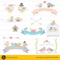 Wedding birds vector - Digital Clipart - Instant Download - EPS, PNG files included by ChenStudio88 on Etsy https://www.etsy.com/listing/241752681/wedding-birds-vector-digital-clipart