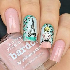This is a very nice Trendy Nail Arts Design in nude or pastel colors with rhinestone or diamond or glitters , It gives sophisticated and luxurious looks in your nails. Its just enough glitz to have a stylish yet not overbearing nail art design. Perfect Nails, Gorgeous Nails, Cute Nails, Pretty Nails, Pink Nails, Gel Nails, Paris Nails, Cute Nail Art Designs, Painted Nail Art