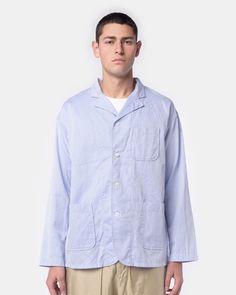 Shirt Jacket in Blue Diamond Dobby Print