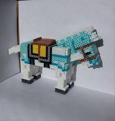 Minecraft White Horse with Diamond Armor 3D Perler Bead