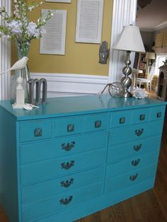 Versatile piece! Beautiful happy aqua color in chalk paint(Maison Blanche La Craie Collette)  Use it as a dresser in the bedroom, sideboard in the diningroom, buffet/server in the kitchen or a sofa table in the livingroom.