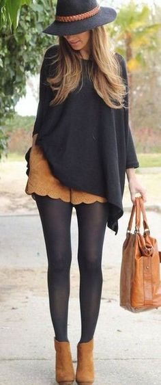 Balance out the proportion of a poncho with tights and heeled boots.
