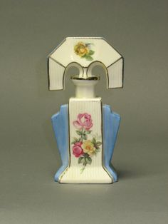 Fabulous Porcelain Perfume Bottle MARKED GERMANY 4651 -- with dauber.