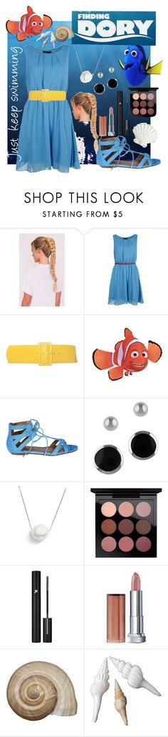 """Dory from Finding Nemo/Finding Dory"" by cinemasweetheart ❤ liked on Polyvore featuring Boohoo, Disney Pixar Finding Dory, Aquazzura, Lord & Taylor, Chan Luu, Lancôme, Maybelline and Pier 1 Imports"
