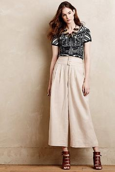 NEW ANTHROPOLOGIE $148 Cartonnier Linen Cummerbund Crops Size 10 Beige Pants NWT #Anthropologie #Crops