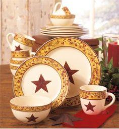 16-Pc. Star u0026 Berry Dinnerware & Star Vine Dinnerware | PARK DESIGNS STAR VINE CERAMICS | For the ...