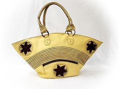 V & H collection: Yellow Leather Handbag and Belt With Brown Crochet...