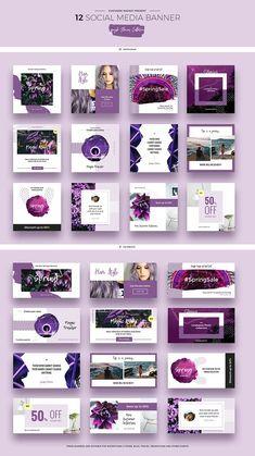 Purple Flowers Social Media Designs by Evatheme Market on Design Food, Ad Design, Flyer Design, Layout Design, Design Ideas, Social Media Banner, Social Media Template, Social Media Design, Instagram Design