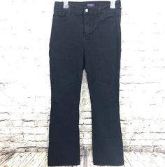 Not Your Daughters Jeans Black Denim Sz 12 Slimming Tummy Tuck Boot Cut Stretch #NYDJ #BootCut