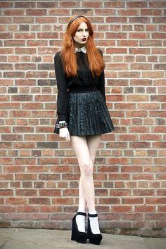 White Collar Blouse, Pleated Skirt, Heels, Topshop Socks, Spike Bracelet