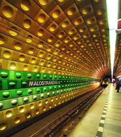 Malostranska - Metro station, Prague, Czech Republic by Edgar Barany Budapest, S Bahn, Prague Czech Republic, Metro Station, Medieval Town, Central Europe, Most Beautiful Cities, Eastern Europe, Public Transport