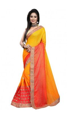 Yellow Faux georgette Saree With Brocade Blouse - DMV9785