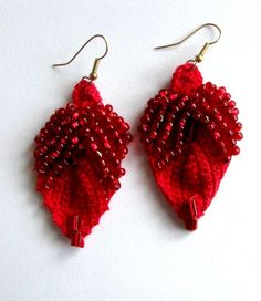 Earrings red crochet with red glass beads by Calabropina on Etsy ($13)