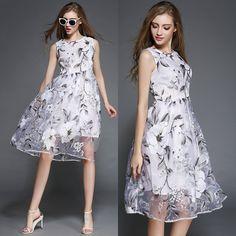 European Summer New Printing Sleeveless Organza Dress Temperament