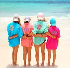 Our guide would die if my sister and I had monogrammed fishing shirts. But it really adds that girly touch! Teal with pink monogram Bathing Suit Covers, Bathing Suits, Summer Outfits, Cute Outfits, Preppy Outfits, Preppy Clothes, Beach Outfits, Pink Outfits, Summer Clothes