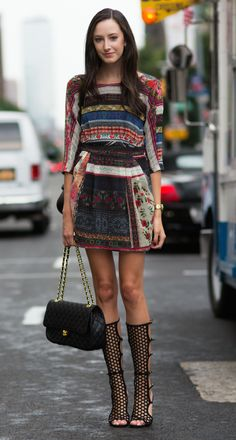 Prints in street style. Amazing boots! Emily Tozer NEw York Fashion Week Spring 2015