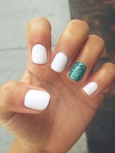 simple-white-nails-and-green-glitter-accent-nail-art