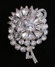 Vintage Signed Eisenberg Vibrant Clear Rhinestones Crystals Keystone Pin Brooch #Eisenberg