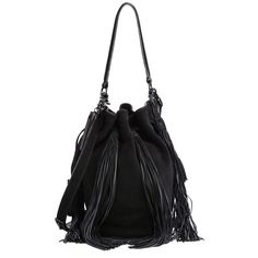 Loeffler Randall Industry Fringe Suede Bucket Bag (€425) ❤ liked on Polyvore featuring bags, handbags, shoulder bags, apparel & accessories, drawstring bucket bag, fringe tassel shoulder bag, fringe bucket bag, bohemian shoulder bag and drawstring purse