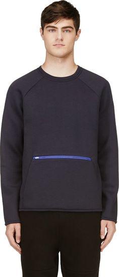 T by Alexander Wang Navy Blue Scuba Sweatshirt