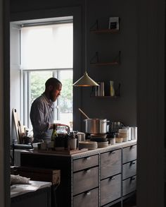 Create different shelf modules and get a unique storage solution. Grey Stuff, Interior Design Kitchen, Kitchen Dining, Dining Rooms, Merry, Design Inspiration, Shelves, Ceiling Lights, Furniture