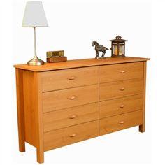 Oak Finish 8-Drawer Bedroom Dresser - Made in USA