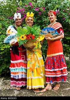 Cuban Ladies in Traditional Dress Plaza de Armas Old Havana havana Cuba Stock Photo