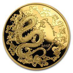 silver dragon 24K gold gilded 2012 1 oz