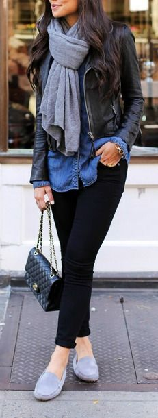 Chambray/denim top, black leather jacket, scarf, quilted purse/bag, dove grey loafers