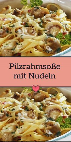 Pilzrahmsoße mit Nudeln Low Calorie Recipes, Meat Recipes, One Pot Spaghetti, Chicken Breast Fillet, Eating Plans, Fruits And Veggies, Food Cravings, Pasta, Food Porn