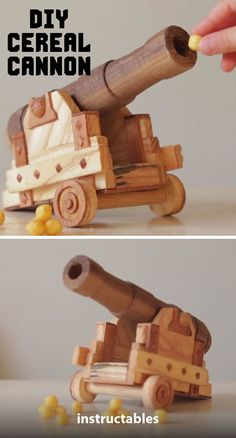 This clever Sea of Thieves inspired cereal cannon has a little spring mechanism at the back of the barrel that allows you to launch pieces of cereal across the breakfast table at unsuspecting family members. #woodworking #computergame #toy