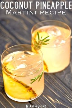 The Coconut Pineapple Martini blends coconut rum or vodka with pineapple juice in both of these cocktail recipes. Beyond that, you have a couple of recipe variations to work with. This is a fun and tasty drink! Pineapple Martini Recipes, Pineapple Cocktail, Margarita Recipes, Alcoholic Drinks With Pineapple Juice, Juice Drinks, Coconut Rum Drinks, Coconut Martini, Malibu Coconut, Pineapple Coconut