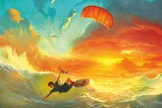 Магазин открыток cardinbox.ru - Почтовая авторская открытка серфингистом на волнах