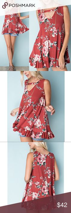 NICOLE Floral Tunic Top - RUST Soft rayon sleeveless tank with cute ruffle style.  95% rayon modal, 5% spandex  MADE IN USA   NO TRADE  PRICE FIRM Bellanblue Tops Tunics
