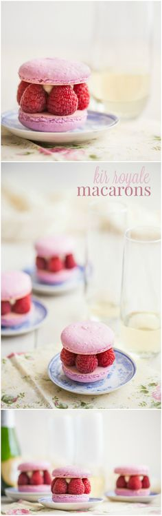 Raspberry & Champagne come together in these gorgeous Kir Royale Macarons. Perfect for a party or shower!