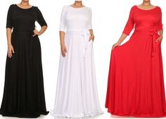PLUS SIZE SOLID SIDE POCKET FULL SWEEP LONG SKIRT TIE BELT JERSEY MAXI DRESS #OnlyPlusSize #Maxi #Cocktail