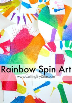 Rainbow Spin Art- fun process art craft for toddlers, preschoolers, or older kids. Bright and colorful! Rainbow Activities, Rainbow Crafts, Art Activities For Kids, Rainbow Art, Preschool Crafts, Fun Crafts, Crafts For Kids, Toddler Activities, Playgroup Activities