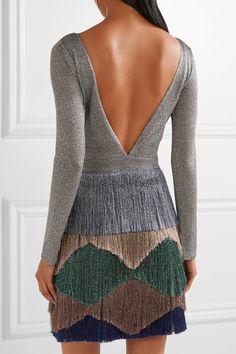 Missoni | Fringed metallic knitted mini dress | NET-A-PORTER.COM